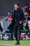 Coach Diego Simeone of Atletico de Madrid gestures during the UEFA Europa League quarter final leg one match between Atletico Madrid and Sporting CP at Wanda Metropolitano on April 5, 2018 in Madrid, Spain. Photo by Diego Souto / Power Sport Images