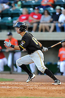 Center fielder Eduardo Figueroa (13) of the Bristol Pirates in a game against the Greeneville Astros on Friday, July 25, 2014, at Pioneer Park in Greeneville, Tennessee. Greeneville won, 9-4. (Tom Priddy/Four Seam Images)