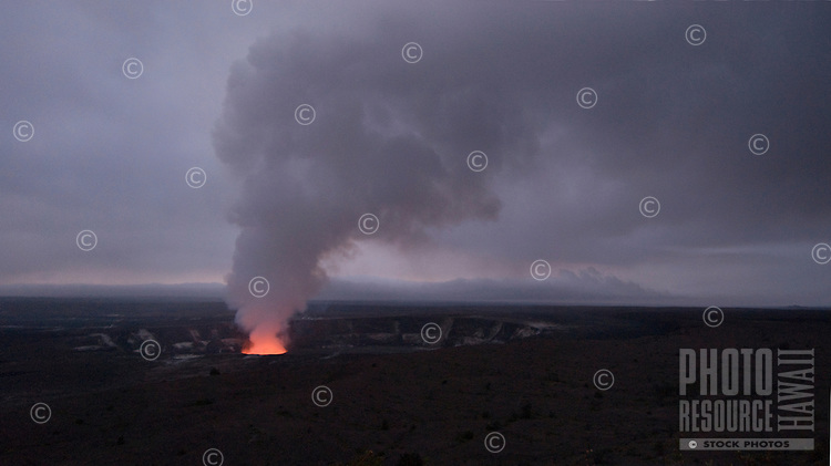 May 1, 2010: Glowing vent and plume, Halemaumau Crater, early morning, Hawaii Volcanoes National Park, Big Island.