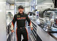 Sep 23, 2018; Madison, IL, USA; NHRA top fuel driver Steve Torrence reacts in his teams car hauler during the Midwest Nationals at Gateway Motorsports Park. Mandatory Credit: Mark J. Rebilas-USA TODAY Sports
