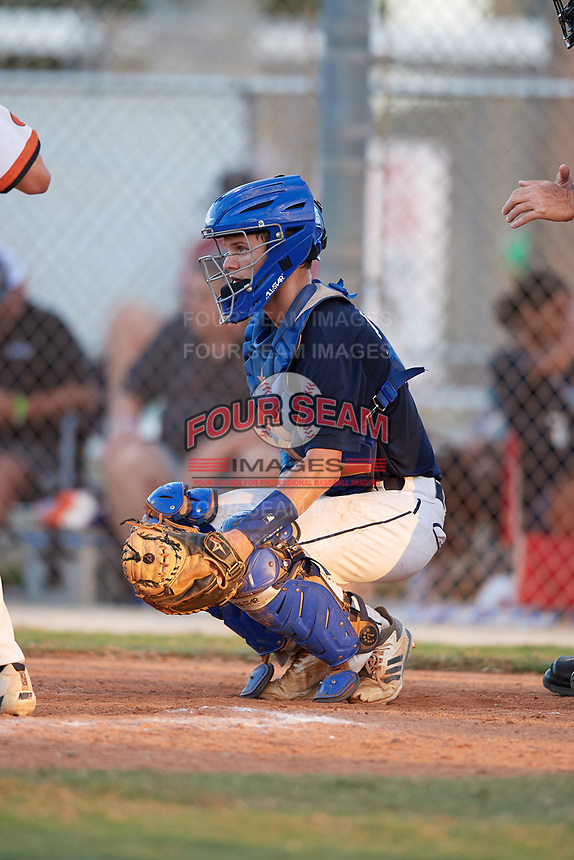 Jacob Bennett during the WWBA World Championship at the Roger Dean Complex on October 20, 2018 in Jupiter, Florida.  Jacob Bennett is a catcher from St. Johns, Florida who attends Bartram Trail High School.  (Mike Janes/Four Seam Images)
