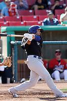 Michael Gilmartin #3 of the Stockton Ports bats against the High Desert Mavericks at Stater Bros. Stadium on May 27, 2012 in Adelanto,California. High Desert defeated Stockton 6-5.(Larry Goren/Four Seam Images)