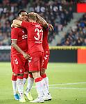 08.08.2019 FC Midtjylland v Rangers: Alfredo Morelos and Scott Arfield