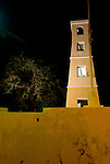 Kralendijk, Bonaire, Netherland Antilles -- The historic old fort at waterfront in Kralendijk is illuminated at night.