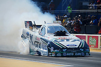 Jul. 1, 2012; Joliet, IL, USA: NHRA funny car driver Mike Neff during the Route 66 Nationals at Route 66 Raceway. Mandatory Credit: Mark J. Rebilas-