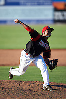 Batavia Muckdogs pitcher Ayron Adames (36) delivers a pitch during a game against the Vermont Lake Monsters August 9, 2015 at Dwyer Stadium in Batavia, New York.  Vermont defeated Batavia 11-5.  (Mike Janes/Four Seam Images)