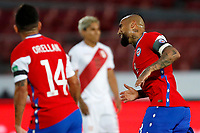 13th November 2020; National Stadium of Santiago, Santiago, Chile; World Cup 2020 Football qualification, Chile versus Peru;  Arturo Vidal of Chile celebrates his goal in the 20th minute for 1-0