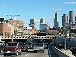 Boston traffic entering the I93/ Tip O'Neill Tunnel. MA, U.S.