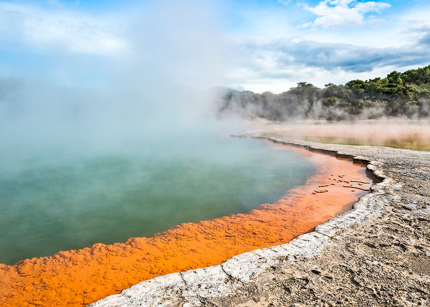 """Rotorua's thermal hot springs leave deposits of many different minerals. This one is at the edge of the """"Champagne Pool"""" at the Wai-O-Tapu """"Thermal Wonderland."""""""