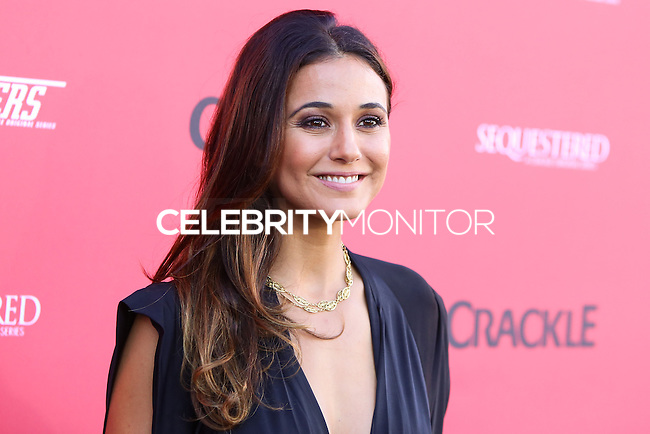 """WEST HOLLYWOOD, CA, USA - AUGUST 14: Actress Emmanuelle Chriqui arrives at the Los Angeles Premiere Of Crackle's """"Sequestered"""" And """"Cleaners"""" held at 1 OAK on August 14, 2014 in West Hollywood, California, United States. (Photo by Xavier Collin/Celebrity Monitor)"""