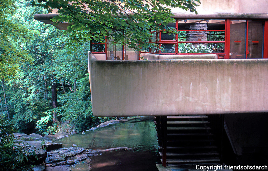 F.L. Wright: Fallingwater. Balcony, Stairs seen from approach.  Photo '76.