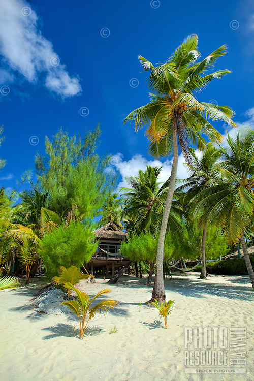 Traditional hut on Amuri Beach, Aitutaki Island, Cook Islands.