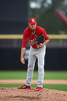 Palm Beach Cardinals pitcher Josh Lucas (33) looks in for the sign during the first game of a doubleheader against the Dunedin Blue Jays on August 2, 2015 at Florida Auto Exchange Stadium in Dunedin, Florida.  Palm Beach defeated Dunedin 4-1.  (Mike Janes/Four Seam Images)