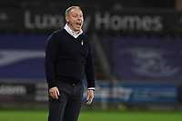 Steve Cooper Head Coach of Swansea City shouts instructions to his team from the dug-out during the Sky Bet Championship match between Swansea City and Cardiff City at the Liberty Stadium in Swansea, Wales, UK. Saturday 20 March 2021