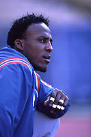 Vladimir Guerrero of the Montreal Expos during a 2000 season MLB game at Dodger Stadium in Los Angeles, California. (Larry Goren/Four Seam Images)