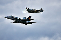 RCAF Cf-18 Hornet + WWII Supermarine Spitfire Mk IX<br /> in an air show, Sept 2019<br /> <br /> <br /> PHOTO : Agence Quebec Presse - PPierre Tran