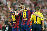 FC Barcelona's coach Luis Enrique Martinez (c), Jordi Alba and Andres Iniesta celebrate the victory in the Spanish King's Cup Final match. May 30,2015. (ALTERPHOTOS/Acero)