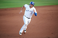 Dunedin Blue Jays first baseman Ryan McBroom (23) running the bases during a game against the Palm Beach Cardinals on April 15, 2016 at Florida Auto Exchange Stadium in Dunedin, Florida.  Dunedin defeated Palm Beach 8-7 in ten innings.  (Mike Janes/Four Seam Images)
