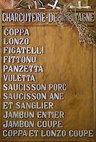 """Europe/France/2A/Corse-du-Sud/Porto-Vecchio: """"U Tavonu"""" boutique de produits corses-menu de la charcuterie de montagne Corse"""