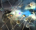 Concept of a woman wearing virtual reality goggles in a matrix of light and atomic structures depicting a virtual reality world