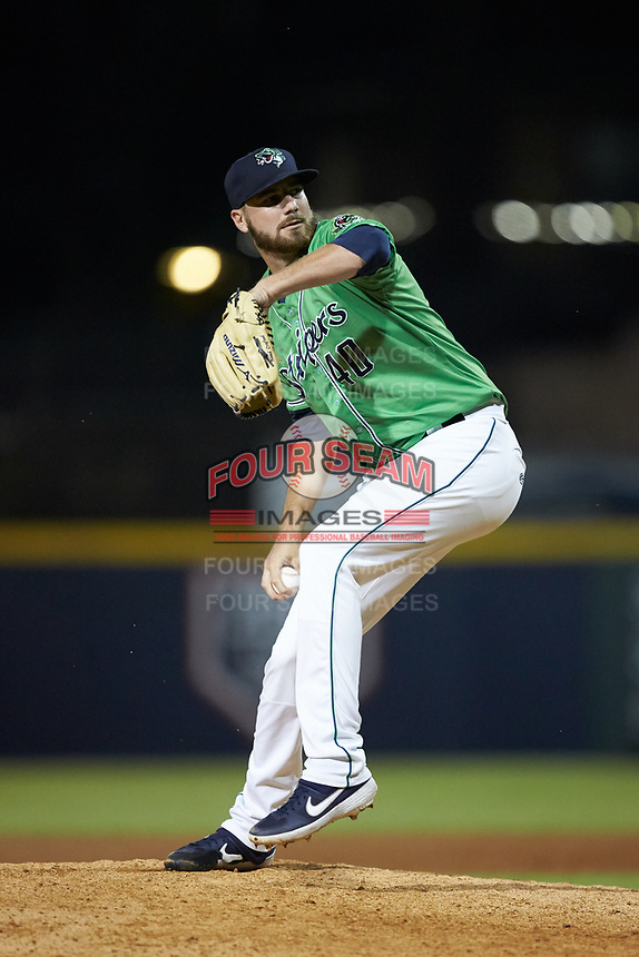 Gwinnett Stripers relief pitcher Chad Sobotka (40) in action against the Scranton/Wilkes-Barre RailRiders at Coolray Field on August 16, 2019 in Lawrenceville, Georgia. The Stripers defeated the RailRiders 5-2. (Brian Westerholt/Four Seam Images)