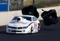 Jul. 20, 2013; Morrison, CO, USA: NHRA pro stock driver Greg Anderson during qualifying for the Mile High Nationals at Bandimere Speedway. Mandatory Credit: Mark J. Rebilas-