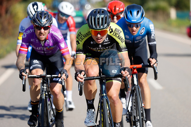 The 7 man breakaway led here by Robert Stannard (AUS) Mitchelton-Scott during Stage 8 of the Vuelta Espana 2020 running 160km from Logroño to Alto de Moncalvillo, Spain. 28th October 2020.   <br /> Picture: Luis Angel Gomez/PhotoSportGomez | Cyclefile<br /> <br /> All photos usage must carry mandatory copyright credit (© Cyclefile | Luis Angel Gomez/PhotoSportGomez)