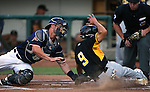 Reno Aces' Dan Rohlfing tags Salt Lake Bees' Rafael Ortega during a game at Greater Nevada Field, in Reno, Nev., on Wednesday, Aug. 10, 2016.  The Aces won 3-1.<br />Photo by Cathleen Allison