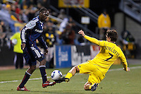 8 MAY 2010:  New England Revolutions' Kheli Dube (11) and Guillermo Barros Schelotto of the Columbus Crew (7) during MLS soccer game between New England Revolution vs Columbus Crew at Crew Stadium in Columbus, Ohio on May 8, 2010. The Columbus defeated New England 3-2.