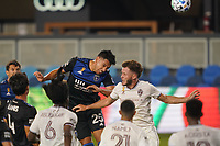 SAN JOSE, CA - SEPTEMBER 5: Andy Rios #25 of the San Jose Earthquakes goes up for a header during a game between Colorado Rapids and San Jose Earthquakes at Earthquakes Stadium on September 5, 2020 in San Jose, California.