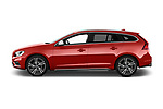 Car Driver side profile view of a 2017 Volvo V60 T6-R-Design 5 Door Wagon Side View