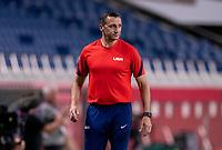 SAITAMA, JAPAN - JULY 24: Vlatko Andonovski of the USWNT watches his team during a game between New Zealand and USWNT at Saitama Stadium on July 24, 2021 in Saitama, Japan.