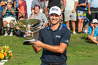 5th September 2021: Atlanta, Georgia, USA;   Patrick Cantlay (USA)  hoits the FedExCup trophy after the final round of the PGA TOUR Championship on September 5, 2021 at East Lake Golf Club in Atlanta, GA. (Photo by John Adams/Icon Sportswire)