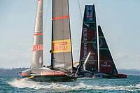 13th March 2021; Waitemata Harbour, Auckland, New Zealand;  Emirates Team New Zealand and Luna Rossa Prada Pirelli Team in race six on day three of the America's Cup presented by Prada.