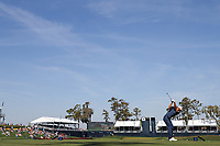 14th March 2021; Ponte Vedra Beach, Florida, USA;  Dustin Johnson of the United States plays a tee shot on the 17th hole during the final round of THE PLAYERS Championship on March 14, 2021 at TPC Sawgrass Stadium Course in Ponte Vedra Beach, Fl.