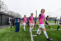 both teams pictured entering the pitch during a female soccer game between Club Brugge Dames YLA and Eendracht Aalst Ladies on the 9 th matchday of the 2020 - 2021 season of Belgian Scooore Womens Super League , saturday 12 December 2020  in Brugge , Belgium . PHOTO SPORTPIX.BE | SPP | DAVID CATRY