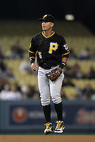 Pittsburgh Pirates infielder Ronny Cedeno #5 during a game against the Los Angeles Dodgers at Dodger Stadium on September 16, 2011 in Los Angeles,California. Los Angeles defeated Pittsburgh 7-2.(Larry Goren/Four Seam Images)