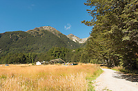 Routeburn Shelter with people on start of Routeburn Track, Mt. Aspiring National Park, Central Otago, New Zealand