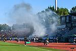 10.08.2019, Donaustadion, Ulm, GER, DFB Pokal, SSV Ulm 1846 Fussball vs 1. FC Heidenheim, <br /> DFL REGULATIONS PROHIBIT ANY USE OF PHOTOGRAPHS AS IMAGE SEQUENCES AND/OR QUASI-VIDEO, <br /> im Bild Rauchschwaden vor Spielbeginn, Ulmer Fanblock<br /> <br /> Foto © nordphoto / Hafner