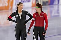 28th December 2020; Thialf Ice Stadium, Heerenveen, Netherlands; World Championship Speed Skating; 1000m ladies, Jutta Leerdam Jorien ter Mors during the WKKT