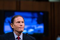 United States Senator Richard Blumenthal (Democrat of Connecticut) speaks during a business meeting portion on the fourth day of the confirmation hearing for Judge Amy Coney Barrett, President Donald Trump's Nominee for Supreme Court, in Hart Senate Office Building in Washington DC, on October 15th, 2020.<br /> Credit: Anna Moneymaker / Pool via CNP /MediaPunch