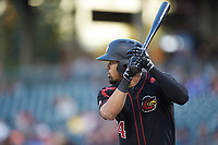 LaMonte Wade Jr. (4) of the Rochester Red Wings at bat against the Charlotte Knights at BB&T BallPark on May 14, 2019 in Charlotte, North Carolina. The Knights defeated the Red Wings 13-7. (Brian Westerholt/Four Seam Images)