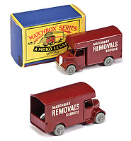 BNPS.co.uk (01202 558833)<br /> Pic: Vectis/BNPS<br /> <br /> Pictured: Matchbox Regular Wheels 17a Bedford Removals Van<br /> <br /> One man's vast collection of model cars amassed over a lifetime has sold at auction for an incredible £250,000.<br /> <br /> Simon Hope, 68, has been collecting matchbox models since he was a small child and has bought over 4,000 over the past six decades.<br /> <br /> His hobby has cost him thousands of pounds and at and engulfed a huge slice of his life but he has now decided to part with the toys