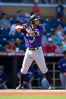 Kristopher Negron (7) of the Louisville Bats at bat against the Durham Bulls at Durham Bulls Athletic Park on August 9, 2015 in Durham, North Carolina.  The Bulls defeated the Bats 9-0.  (Brian Westerholt/Four Seam Images)