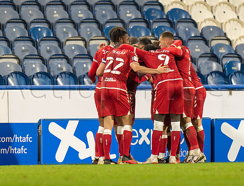 3rd November 2020, The John Smiths Stadium, Huddersfield, Yorkshire, England; English Football League Championship Football, Huddersfield Town versus Bristol City; Bristol team celebrate Jamie Paterson of Bristol City goal in min 83