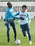 Getafe CF's Allan Nyom (l) and Take Kubo during training session. February 17, 2021.(ALTERPHOTOS/Acero)