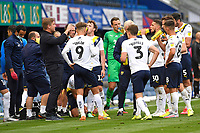 Oxford United Manager Karl Robinson left gives his team a talking to during a drinks break during Portsmouth vs Oxford United, Sky Bet EFL League 1 Play-Off Semi-Final Football at Fratton Park on 3rd July 2020
