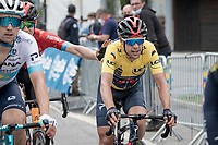 yellow jersey / GC leader Richie Porte (AUS/Ineos Grenadiers) winning his first Dauphiné title at the age of 36 and being congratulated by fellow aussie Jack Haig (AUS/Bahrain Victorious) while crossing the finish line.<br /> <br /> 73rd Critérium du Dauphiné 2021 (2.UWT)<br /> Stage 8 (Final) from La Léchère-Les-Bains to Les Gets (147km)<br /> <br /> ©kramon