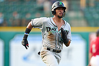 Dayton Dragons Allan Cerda (24) running the bases during a game against the Fort Wayne TinCaps on August 25, 2021 at Parkview Field in Fort Wayne, Indiana.  (Mike Janes/Four Seam Images)