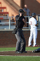 Home plate umpire Jason Johnson makes a strike call during the Carolina League game between the Frederick Keys and the Buies Creek Astros at Jim Perry Stadium on April 28, 2018 in Buies Creek, North Carolina. The Astros defeated the Keys 9-4.  (Brian Westerholt/Four Seam Images)